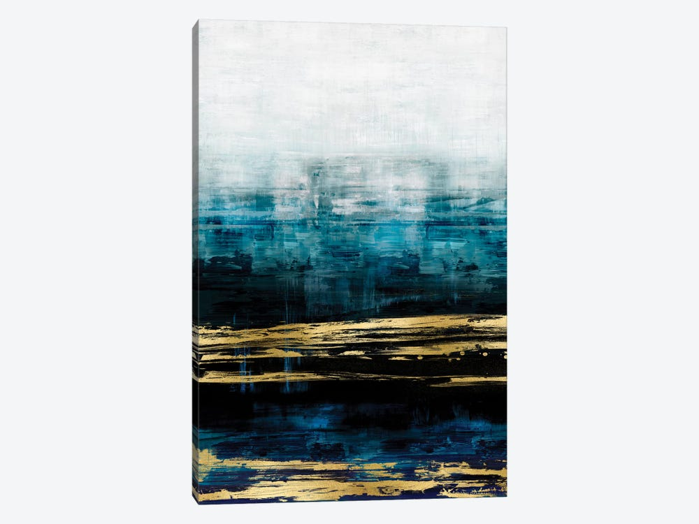 Aqua Reflections With Gold by Allie Corbin 1-piece Canvas Print