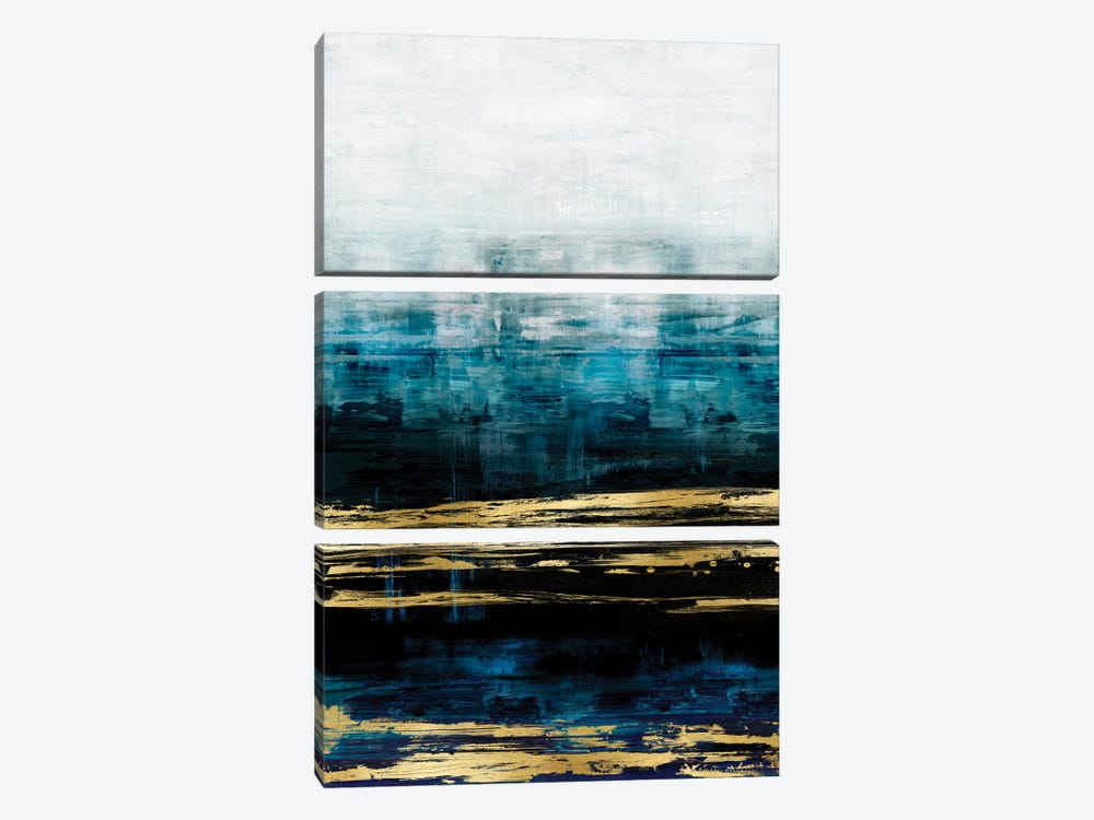 Aqua Reflections With Gold by Allie Corbin 3-piece Canvas Print
