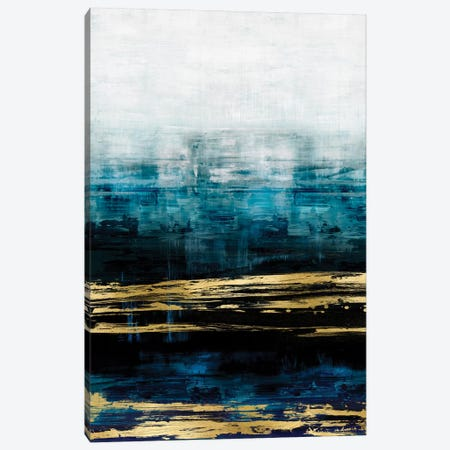 Aqua Reflections With Gold 3-Piece Canvas #CRB4} by Allie Corbin Canvas Wall Art