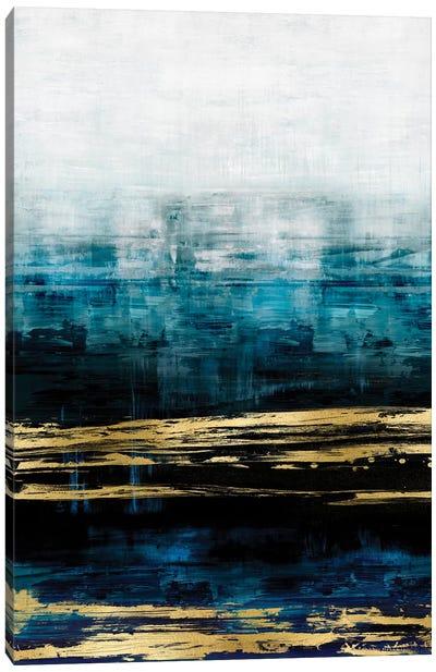 Aqua Reflections With Gold Canvas Art Print