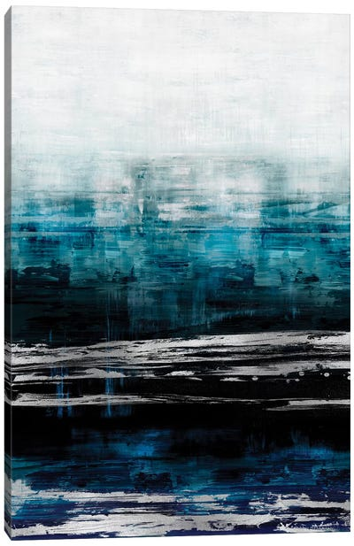 Aqua Reflections With Silver Canvas Art Print