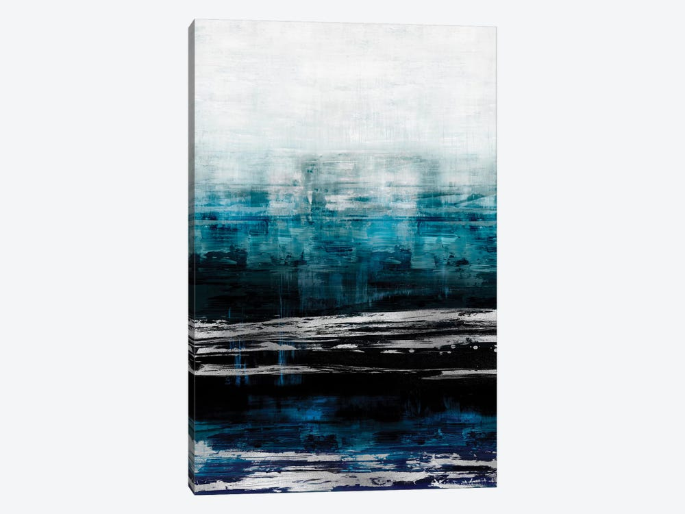 Aqua Reflections With Silver by Allie Corbin 1-piece Canvas Wall Art