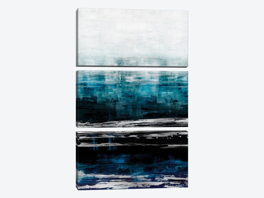 Aqua Reflections With Silver by Allie Corbin 3-piece Canvas Wall Art