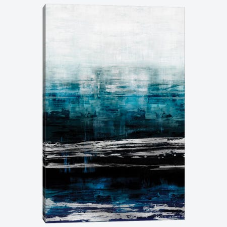 Aqua Reflections With Silver 3-Piece Canvas #CRB5} by Allie Corbin Canvas Art