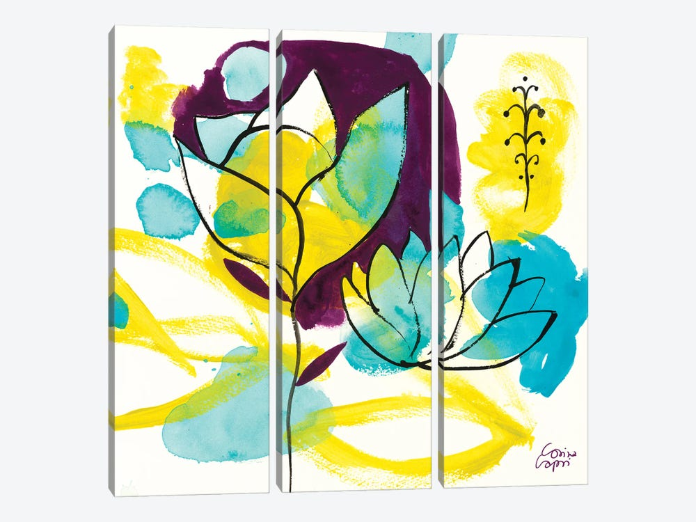 Play Of Water Lilies by Corina Capri 3-piece Canvas Wall Art