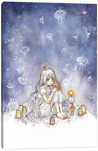 Jellyfish Of The Night Canvas Art Print