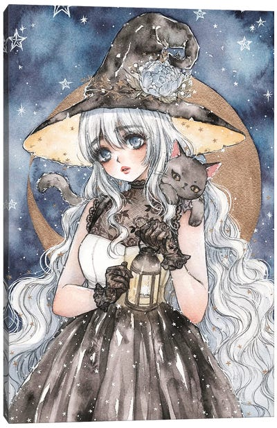 Starry Witch Canvas Art Print