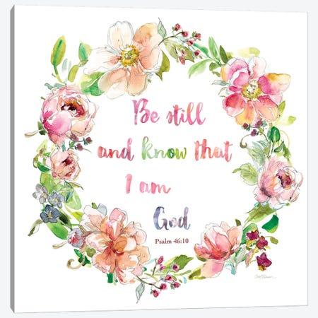 Floral Scripture Wreath I Canvas Print #CRO1004} by Carol Robinson Canvas Art Print