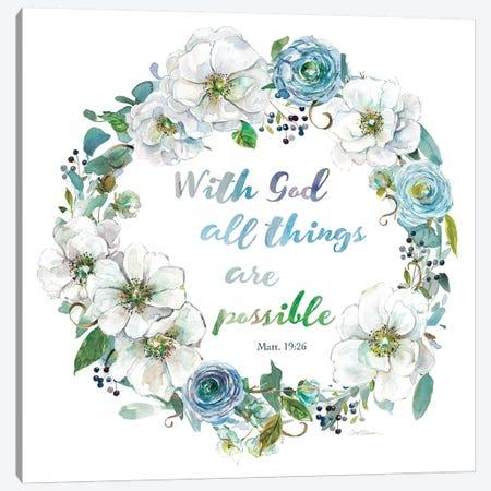 Floral Scripture Wreath II Canvas Print #CRO1005} by Carol Robinson Canvas Print