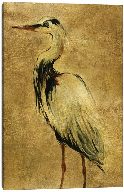 Gold Crane at Dusk II Canvas Art Print