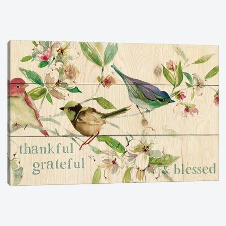 Grateful Thankful Blessed Birds Canvas Print #CRO1017} by Carol Robinson Canvas Wall Art