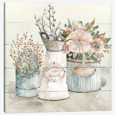 Shiplap Flower Market Canvas Print #CRO1050} by Carol Robinson Canvas Art Print
