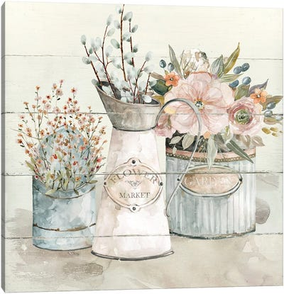 Shiplap Flower Market Canvas Art Print