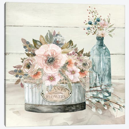 Shiplap Plants & Flowers Canvas Print #CRO1051} by Carol Robinson Art Print