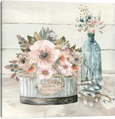 Shiplap Plants & Flowers Canvas Art Print