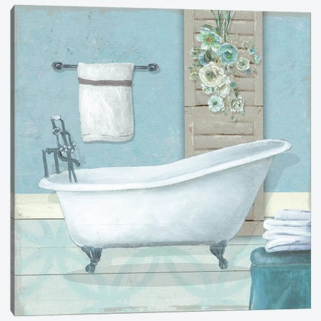 Teal Bath I Canvas Print #CRO1059} by Carol Robinson Canvas Art Print