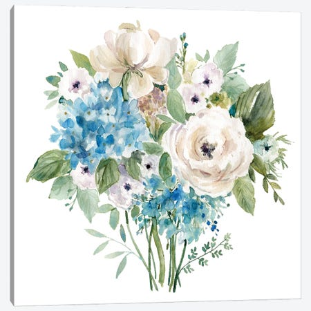 Blue and White Bouquet I 3-Piece Canvas #CRO1172} by Carol Robinson Canvas Artwork