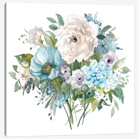Blue and White Bouquet II 3-Piece Canvas #CRO1173} by Carol Robinson Canvas Wall Art
