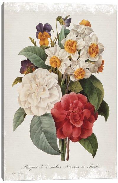 Botanical Bouquet Camelias Canvas Art Print