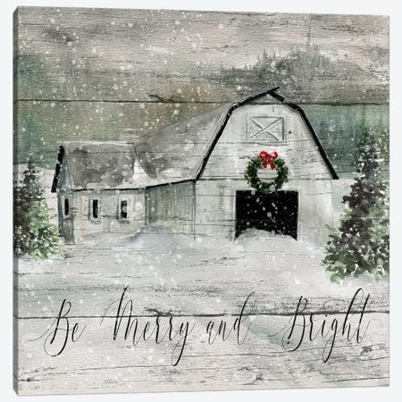 Merry and Bright Barn} by Carol Robinson Canvas Print