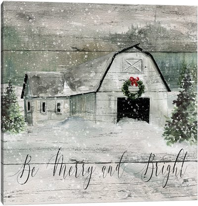 Merry and Bright Barn Canvas Art Print