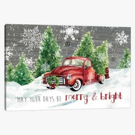 Merry and Bright Christmas Truck 3-Piece Canvas #CRO1219} by Carol Robinson Art Print