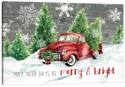 Merry and Bright Christmas Truck Canvas Art Print