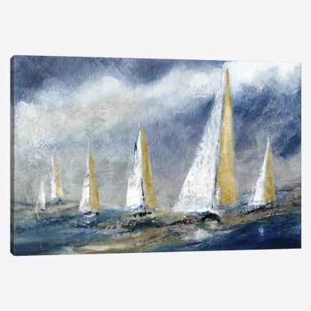 Indigo Swells Canvas Print #CRO1223} by Carol Robinson Canvas Artwork