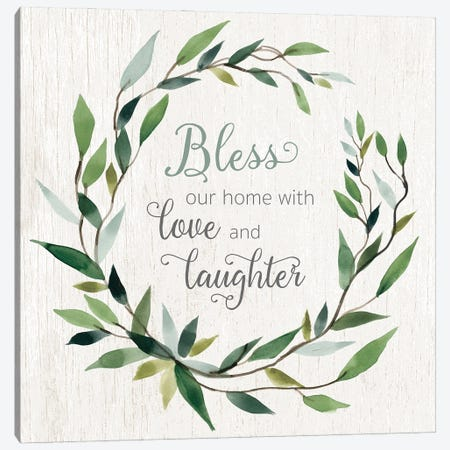 Bless This Home Greenery Canvas Print #CRO1232} by Carol Robinson Canvas Art Print