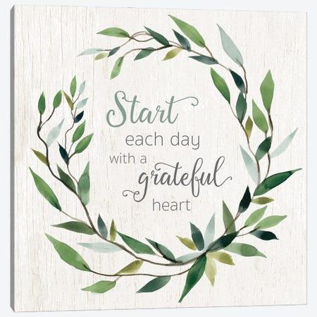 Grateful Heart Greenery Canvas Print #CRO1263} by Carol Robinson Canvas Wall Art
