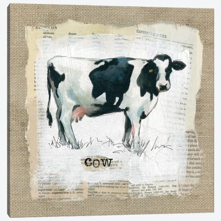 Burlap Cow Canvas Print #CRO133} by Carol Robinson Art Print