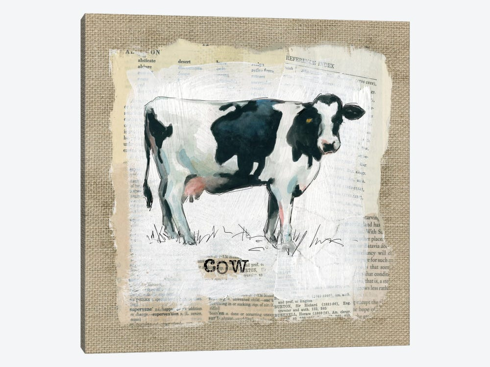 Burlap Cow by Carol Robinson 1-piece Canvas Art