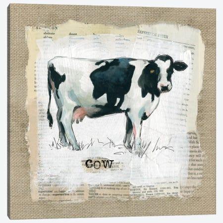 Burlap Cow Canvas Print #CRO133} by Carol Robinson Art Print