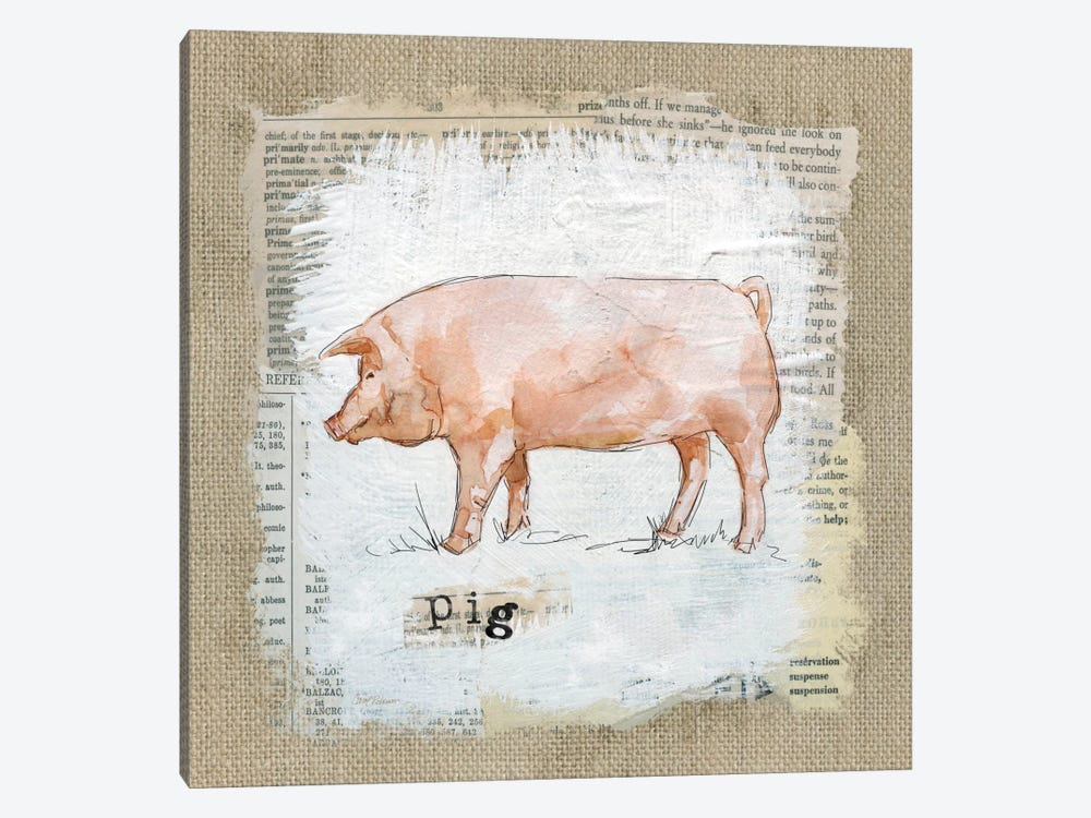 Burlap Pig by Carol Robinson 1-piece Canvas Print