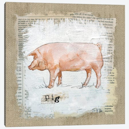 Burlap Pig Canvas Print #CRO134} by Carol Robinson Canvas Art