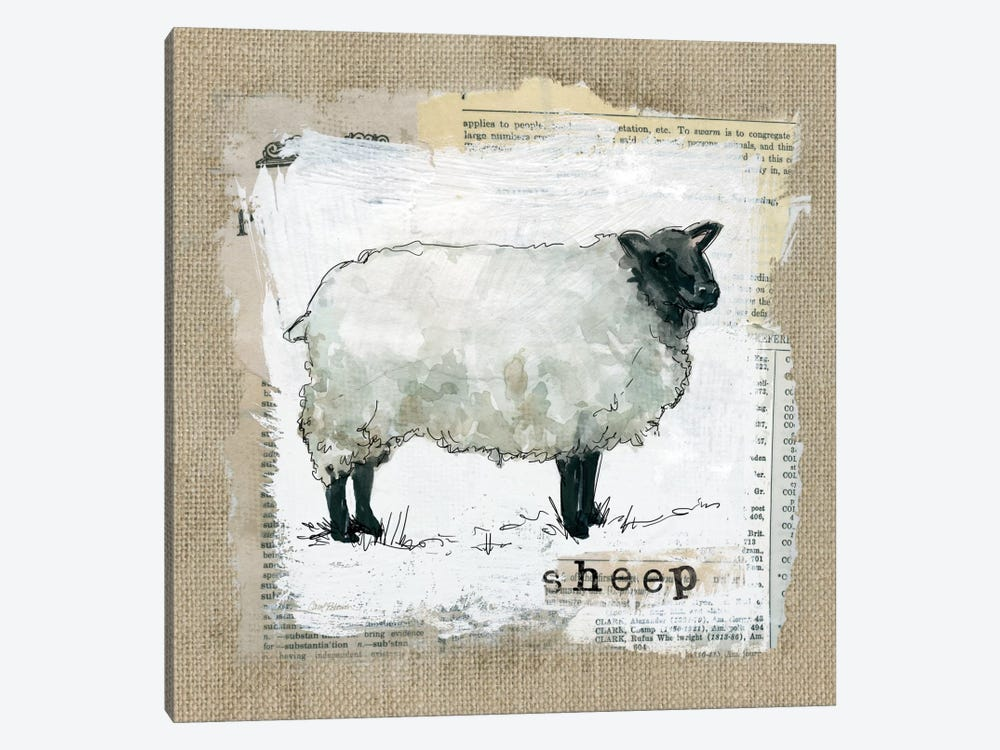 Burlap Sheep by Carol Robinson 1-piece Canvas Wall Art