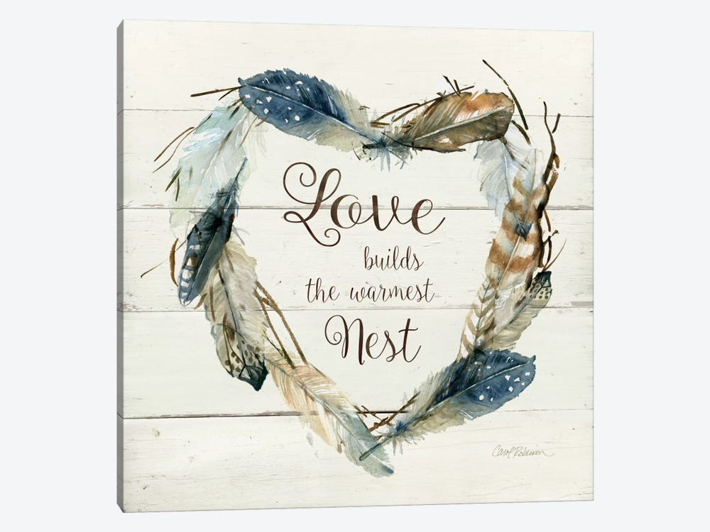 Feather Love Nest by Carol Robinson 1-piece Canvas Print