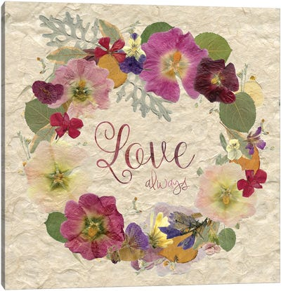 Pressed Wreath Love Canvas Art Print