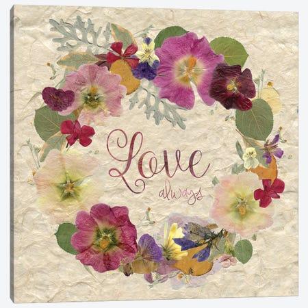 Pressed Wreath Love Canvas Print #CRO172} by Carol Robinson Art Print
