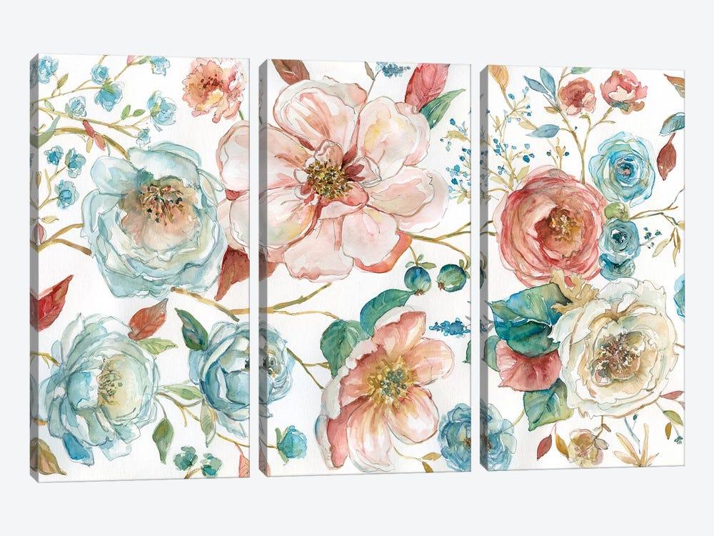 Rose Garden by Carol Robinson 3-piece Canvas Art Print