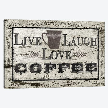 Live, Laugh, Love, Coffee Canvas Print #CRO268} by Carol Robinson Art Print