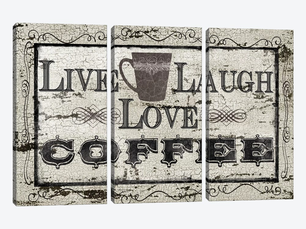 Live, Laugh, Love, Coffee by Carol Robinson 3-piece Canvas Art
