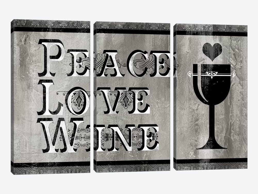 Peace, Love, Wine by Carol Robinson 3-piece Canvas Wall Art