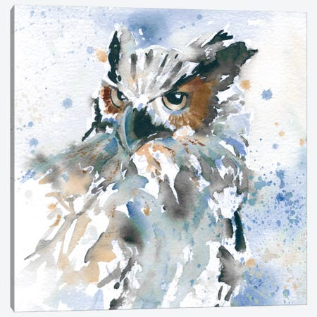 Owl On Blue Canvas Print #CRO28} by Carol Robinson Canvas Artwork