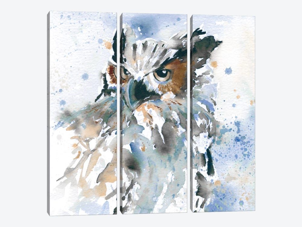 Owl On Blue by Carol Robinson 3-piece Canvas Art Print
