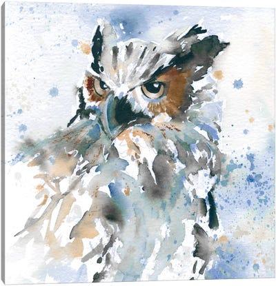 Owl On Blue Canvas Art Print