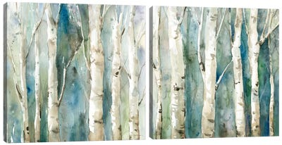 River Birch Diptych Canvas Art Print