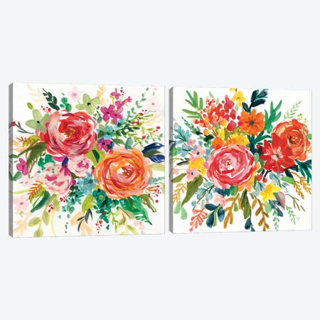 Bright Bouquet Diptych Canvas Print Set #CRO2HSET005} by Carol Robinson Canvas Print