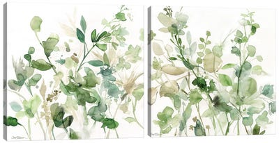 Sage Garden Diptych Canvas Art Print