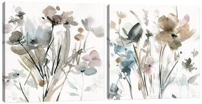 Dainty Blooms Diptych Canvas Art Print